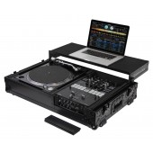 "Odyssey Black Label Low Profile 1-TEIR Glide Style DJ Coffin with Wheels for a 10"" Format DJ Mixer & one Turntable"